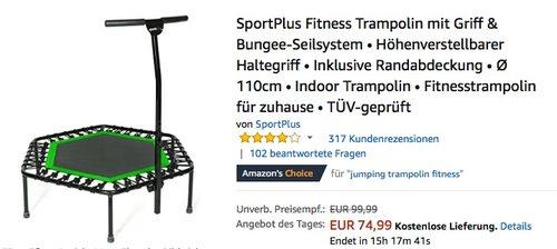 SportPlus Fitness Trampolin mit Griff & Bungee-Seilsystem grün - jetzt 20% billiger