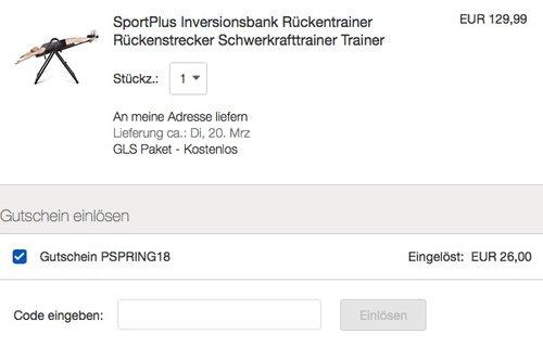 SportPlus Inversionsbank Rückentrainer Rückenstrecker Schwerkrafttrainer Trainer - jetzt 20% billiger