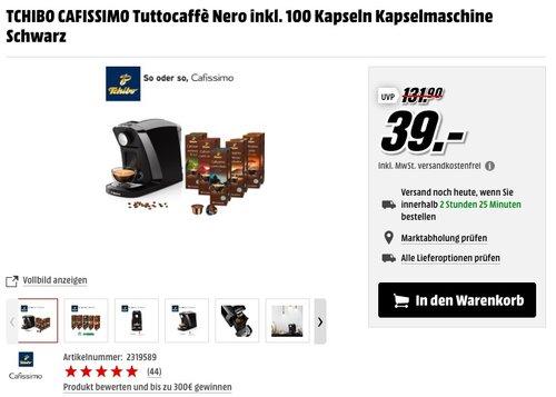 TCHIBO CAFISSIMO Tuttocaffè Nero inkl. 100 Kapseln Kapselmaschine Schwarz - jetzt 44% billiger