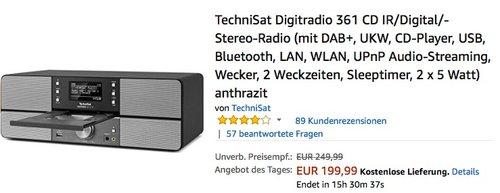TechniSat Digitradio 361 CD IR anthrazit für 199,99€ - jetzt 20% billiger