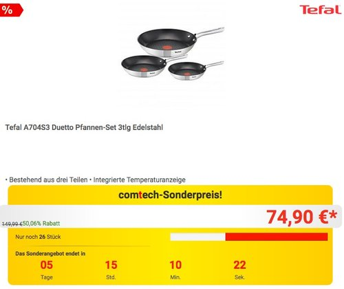 Tefal A704S3 Duetto Pfannen-Set 3tlg Edelstahl - jetzt 12% billiger