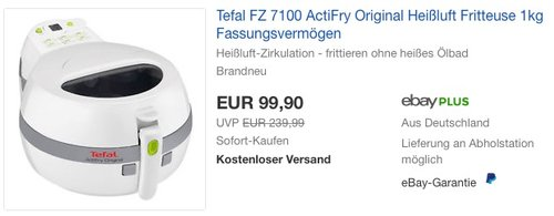 Tefal Actifry FZ7100 Originale Fritteuse mit Actifry-Technologie - jetzt 18% billiger
