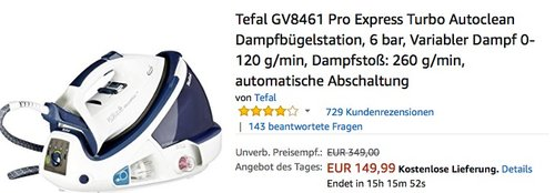 Tefal GV8461 Pro Express Turbo Autoclean Dampfbügelstation - jetzt 15% billiger