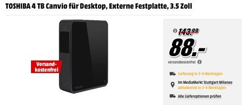Toshiba Canvio 4TB Externe Desktop-Festplatte - jetzt 32% billiger