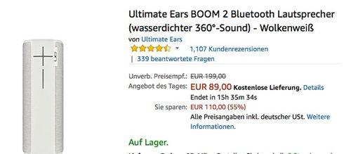 Ultimate Ears BOOM 2 Bluetooth Lautsprecher Wolkenweiß - jetzt 30% billiger