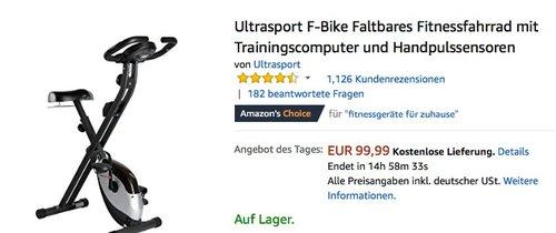 Ultrasport F-Bike Heavy mit Handpuls-Sensoren, Handyhalter und Handtuchablage, klappbar - jetzt 20% billiger
