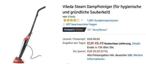 Vileda Steam Dampfreiniger - jetzt 18% billiger