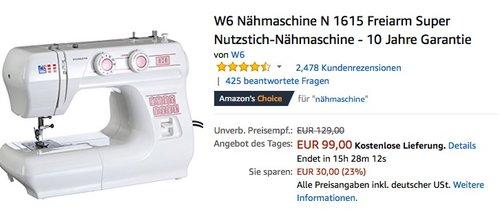 W6 Nähmaschine N 1615 - jetzt 16% billiger