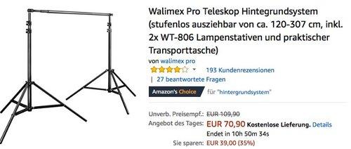 Walimex Pro Teleskop Hintegrundsystem (stufenlos ausziehbar von ca. 120-307 cm) - jetzt 19% billiger