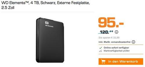 WD Elements 4 TB Externe Festplatte - jetzt 23% billiger