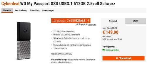 WD My Passport SSD USB3.1 512GB - jetzt 6% billiger