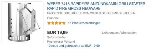 Weber 7416 Anzündkamin Rapidfire - jetzt 24% billiger