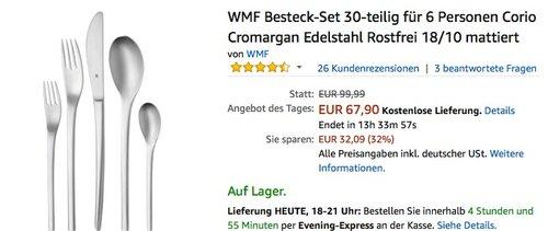 WMF Besteck-Set 30-teilig für 6 Personen Corio für 67,90€ - jetzt 32% billiger