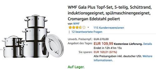 WMF Gala Plus 5-teiliges Topf-Set - jetzt 16% billiger
