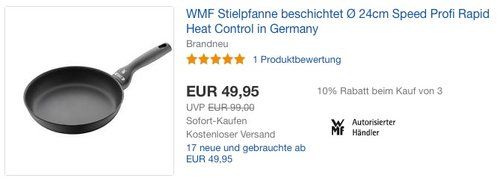 WMF Speed Profi Mehrschichtmaterial Bratpfanne Ø 24 cm - jetzt 21% billiger