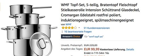 WMF Topf-Set 5-teilig Intension - jetzt 16% billiger