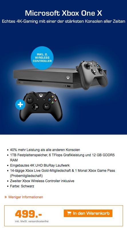 Xbox One X 1TB schwarz  + 2. Wireless Controller - jetzt 8% billiger
