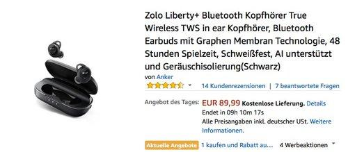 Zolo Liberty+ Bluetooth Kopfhörer - jetzt 16% billiger