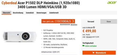 Acer P1502 Full HD DLP Heimkino Beamer (Full HD 1920 x 1080, 3400 ANSI Lumen, 16000:1, 3D) - jetzt 6% billiger