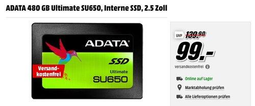 ADATA 480 GB Ultimate SU650 2.5 Zoll Interne SSD Festplatte - jetzt 24% billiger
