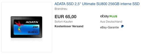"ADATA SSD 2,5"" Ultimate SU800 256GB interne SSD Festplatte - jetzt 12% billiger"