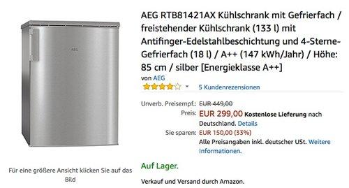 AEG RTB81421AX Kühlschrank mit Gefrierfach - jetzt 12% billiger