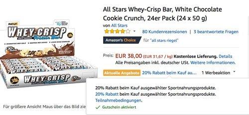 Amazon 20% Rabatt beim Kauf ausgewählter Sportnahrungsprodukte: All Stars Whey-Crisp Bar, White Chocolate Cookie Crunch, 24er Pack (24 x 50 g) - jetzt 20% billiger