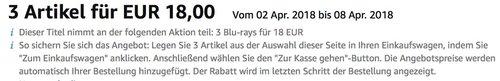 Amazon: 3 Blu-rays für 18 EUR  bis 08 Apr. 2018 - jetzt 47% billiger