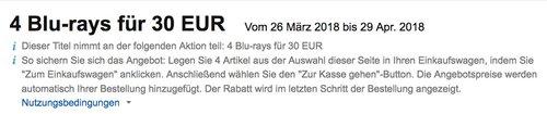 Amazon Aktion: 4 Blu-rays für 30 EUR bis 29 Apr. 2018 - jetzt 25% billiger