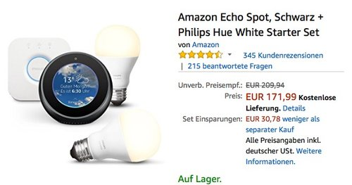 Amazon Echo Spot + Philips Hue White E27 LED Lampe Starter Set - jetzt 15% billiger