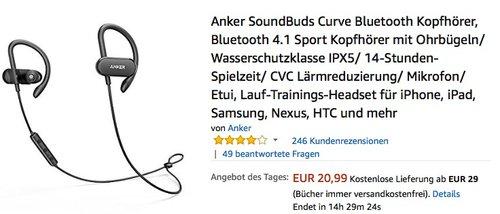 Anker SoundBuds Curve Bluetooth Kopfhörer, Bluetooth 4.1 Sport Kopfhörer mit Ohrbügeln - jetzt 21% billiger