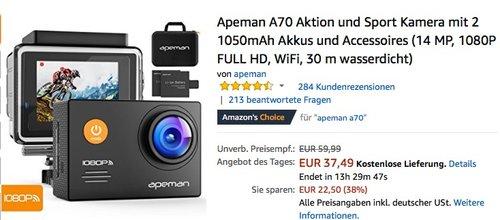 Apeman A70 Aktion und Sport Kamera - jetzt 20% billiger