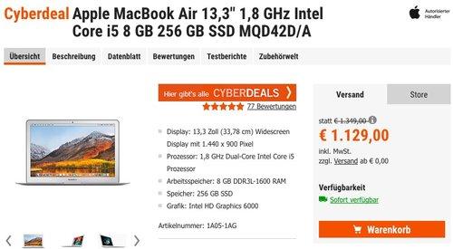 """Apple MacBook Air 13,3"""" 1,8 GHz  i5, 8 GB, 256 GB SSD MQD42D/A - jetzt 4% billiger"""