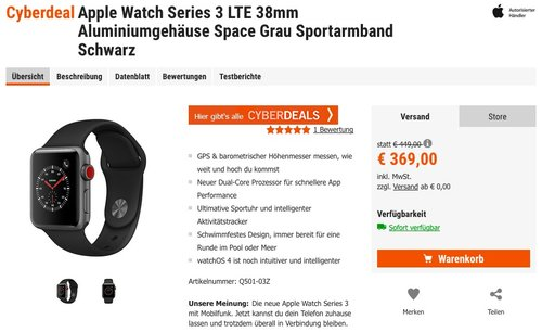 Apple Watch Series 3 LTE 38mm Aluminiumgehäuse Space Grau Sportarmband Schwarz - jetzt 14% billiger