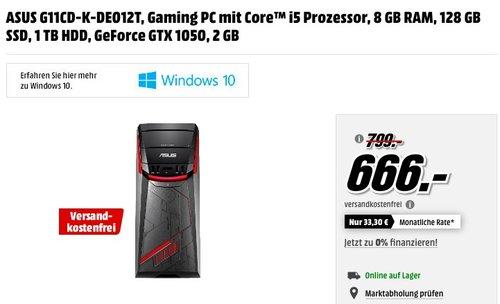ASUS G11CD-K-DE012T Gaming PC mit Core™ i5 Prozessor, 8 GB RAM, 128 GB SSD, 1 TB HDD, GeForce GTX 1050 2 GB - jetzt 17% billiger