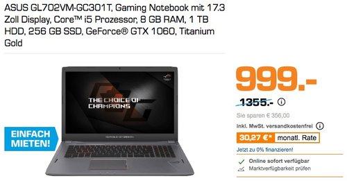 ASUS GL702VM-GC301T, Gaming Notebook mit 17.3 Zoll Display, Core™ i5 Prozessor, 8 GB RAM, 1 TB HDD, 256 GB SSD, GeForce® GTX 1060 - jetzt 24% billiger