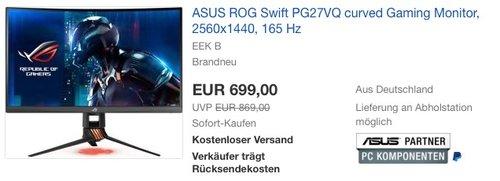 Asus ROG Swift PG27VQ 68,6 cm (27 Zoll) Monitor (WQHD, bis zu 165Hz, HDMI, DisplayPort, 1ms Reaktionszeit) - jetzt 5% billiger