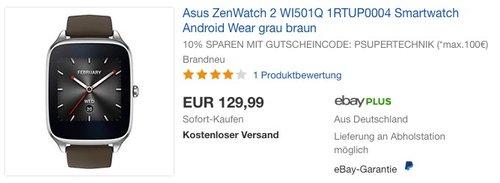 Asus ZenWatch 2 WI501Q 1RTUP0004 Smartwatch Android Wear grau braun - jetzt 19% billiger