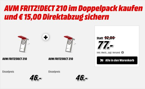 AVM FRITZ!DECT 210 Doppelpack - jetzt 16% billiger
