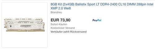 Ballistix Sport LT BLS2C4G4D240FSC 8GB (4GB x 2) Speicher Kit - jetzt 18% billiger