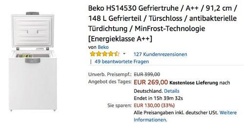 Beko HS14530 Gefriertruhe - jetzt 9% billiger