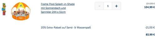 Bestway Frame Pool Splash-in-Shade mit Sonnendach und Sprinkler 244 x 51cm - jetzt 9% billiger