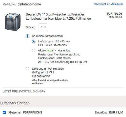 Beurer LW 110 Luftwäscher schwarz - jetzt 20% billiger