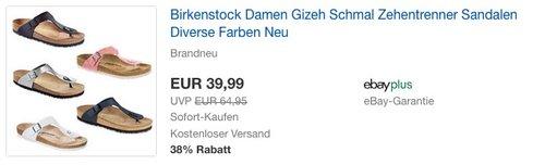 Birkenstock Damen Gizeh Schmal Zehentrenner Sandalen Damen - jetzt 17% billiger