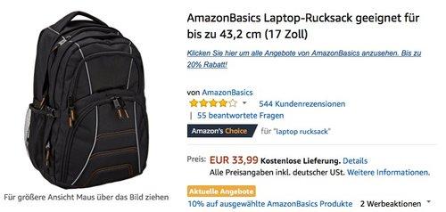 Bis zu 20% Rabatt auf AmazonBasics: Laptop-Rucksack geeignet für bis zu 43,2 cm (17 Zoll) - jetzt 10% billiger