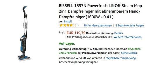 BISSELL 1897N Powerfresh LiftOff Steam Mop 2in1 Dampfreiniger - jetzt 7% billiger