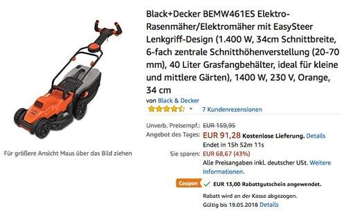 Black+Decker BEMW461ES Elektro-Rasenmäher/Elektromäher - jetzt 30% billiger