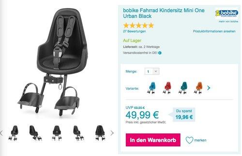 bobike Fahrrad Kindersitz Mini One Urban Black - jetzt 15% billiger
