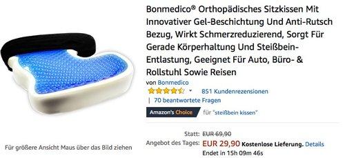 Bonmedico Orthopädisches Sitzkissen Standard Schwarz Velour - jetzt 23% billiger