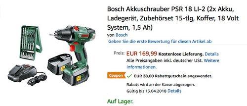 Bosch Akkuschrauber PSR 18 LI-2 (2x Akku, Ladegerät, Zubehörset 15-tlg, Koffer, 18 Volt System, 1,5 Ah) - jetzt 16% billiger